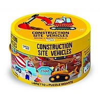 Bộ xếp hình 30 mảnh Công Trường xây dựng SASSI JUNIOR Puzze CONSTRUCTION SITE VEHICLES