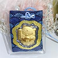 Bùa May Mắn Màu Xanh Dương - Vàng 24K Mèo Chiêu Tài – Kai Gold