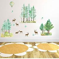 Decal trang trí rừng thông và bầy hươu G114
