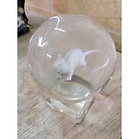 Quả cầu pha lê khắc con chuột 3D sang trọng kèm đế pha lê