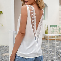 Sexy Women Solid Color Vest V Neck Sleeveless Hollow Out Splicing Backless Fashion Casual Tank Top