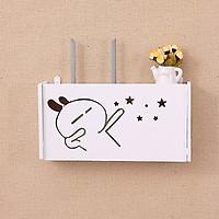 Kệ wifi chữ nhật Thỏ tinh nghịch treo tường không khoan tặng kèm móc treo cường lực