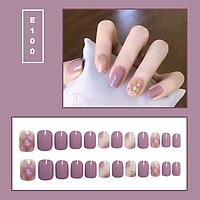 Bộ 24 móng tay giả nail thời trang họa tiết bắt mắt chống thấm nước (E100)