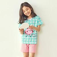 Bộ đồ ngắn tay mặc nhà cotton mịn cho bé gái U3034 - Unifriend Hàn Quốc, Cotton Organic