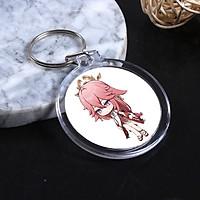 ( Tròn ) Móc treo chìa khóa in hình nhân vật YAE MIKO game GENSHIN IMPACT anime chibi xinh xắn tiện lợi