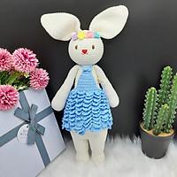 Gấu bông móc len Amigurumi cao cấp - Thỏ Lala trắng váy yếm màu, đồ chơi nhồi bông hình thỏ Lala