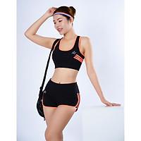 Bộ đồ tập thể thao nữ quần đùi áo bra phối viền màu Cam DN022