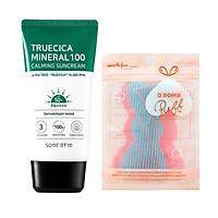 Kem Chống Nắng Dành Cho Da Dầu Mụn, Nhạy Cảm Some By Mi Trucica Mineral 100 Calming Suncream SPF50+/PA+++ 50ml tặng kèm miếng dán tóc (màu ngẫu nhiên)