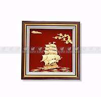 Tranh thuyền buồm hoa mai dát vàng 30x30cm MT Gold Art- Hàng chính hãng, trang trí nhà cửa, phòng làm việc, quà tặng sếp, đối tác, khách hàng, tân gia, khai trương