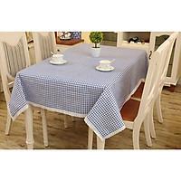 Khăn trải bàn vải canvas sọc caro xanh - viền ren cao cấp KB33