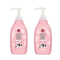 Bộ Sản Phẩm Kem Tắm Sữa Bò Cathy Doll White Milk Shine Body Bath Cream 450ml