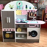 Bàn bếp kèm máy giặt, máy rửa bát đồ chơi gỗ cho bé