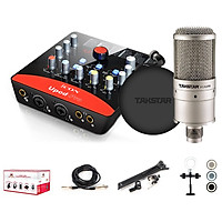 Combo thu âm, livestream souncard icon upod pro, mic PC-K200, tai nghe TS 2260 kèm đầy đủ phụ kiện - hàng chính hãng