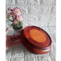 Kỷ đế tròn gỗ hương đỏ quý hiếm 21 cm mặt lòng 17 cm - KT21