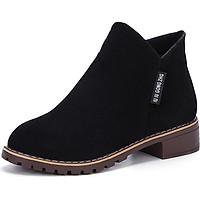 Giày boot nữ cổ ngắn đế trệt màu đen GBN19901