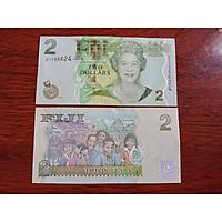Tiền đảo quốc Fiji 2 Dollar chân dung nữ hoàng Elizabeth II xưa , mới 100% - tặng kèm bao lì xì
