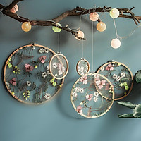 Mesh Embroidered Hoop Ornaments With Flower Pattern Wedding Decoration Display Stand Ornaments Bedroom Pendant