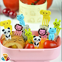 Bộ nĩa 10 xiên hoa quả ngộ nghĩnh đáng yêu hình hươu , gấu , thỏ sắc màu E202