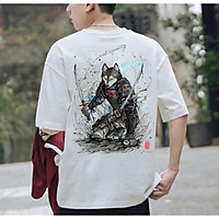áo thun, áo thun tay lỡ sói samurai cực chất unisex, đủ size M L XL XXL