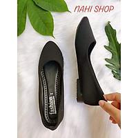 Giày búp bê đen vải đế nhựa NAHI BB02