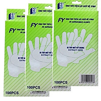 Combo 3 hộp găng tay thực phẩm FY tiện lợi hợp vệ sinh, nhựa HDPE, xanh lá, 100 cái/hộp.