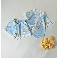 Bộ Ngủ Pijama Lụa Satin Tay Ngắn Siêu Xinh Cho Bé Gái