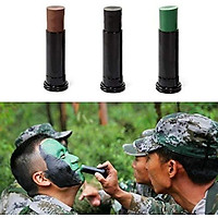 3Pcs Camouflage Camo Color Cream Body Face Paint Tube Stick For Outdoor Field Black+Green+Brown