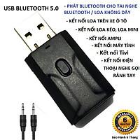 Thiết Bị Thu Phát Nhạc Không Dây VINETTEAM Usb Bluetooth 5.0 Âm Thanh Đa Chức Năng Jack 3.5mm Cho Loa Ô Tô Tai Nghe Bluetooth -Hàng Chính Hãng