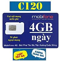 SIM 4G MOBIFONE C120 (Có 4GB/NGÀY, GỌI MOBI MIỄN PHÍ CÁC CUỘC GỌI <20 phút, NGOẠI MẠNG 50 Phút/tháng, 120.000/tháng) - Chọn đầu số 07 hoặc 09 - Hàng chính hãng