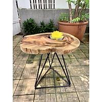 Bàn cà phê, bàn trà gỗ ME TÂY tự nhiên nguyên tấm chân sắt Tam Giác