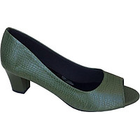 Giày cao gót nữ hở mũi xanh vân cá sấu TH - CG057