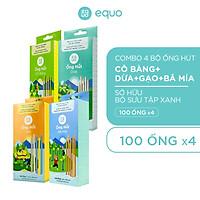 Combo 4 hộp ống hút EQUO 100 ống - Sở hữu bộ sưu tập xanh tiết kiệm hơn 100k