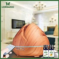 Máy khuếch tán/ máy xông tinh dầu Quả đào gỗ vàng Lorganic FX2024 + tinh dầu sả chanh + tinh dầu cam Lorganic (10ml x2)