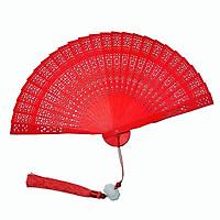 Quạt gỗ cổ trang màu đỏ quạt xếp cầm tay phong cách Trung Quốc  (Có ngọc bội hoa sen)