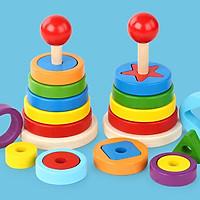 Tháp thả hình lồng khối, đồ chơi gỗ cho bé phát triển kỹ năng và trí não