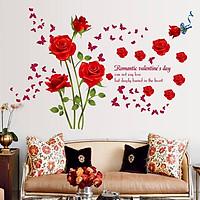Decal dán tường hoa hồng nhung đỏ (60 x 90 cm)