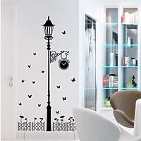 Decal dán tường Cột đèn đen 3D