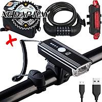 COMBO4 Bộ Phụ Kiện Xe Đạp Thể Thao | Túi Treo Khung CBR, Khóa Xe Đạp 5 Số | Đèn Pha Xe Đạp Kết Hợp Còi HJ062, Đèn Hậu Sạc USB