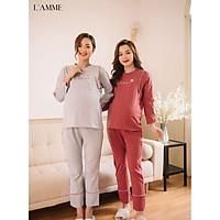 Bộ bầu sau sinh (B05) chất cotton thấm hút mồ hôi tốt, có chỗ cho em bé tuti, quần có chun điều chỉnh - thiết kế bởi LAMME