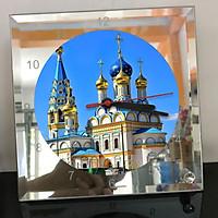 Đồng hồ thủy tinh vuông 20x20 in hình Church - nhà thờ (224) . Đồng hồ thủy tinh để bàn trang trí đẹp chủ đề tôn giáo