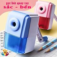 Gọt bút chì quay tay màu xanh và hồng, chuốt bút chì quay tay siêu tiện lợi sắc bền E245