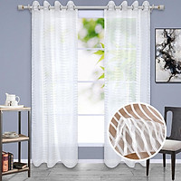 Mesh Curtain With White Stripes 140x240cm Translucent Window Screen Cover Accessories