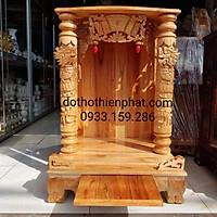 Bàn thờ thần tài ông địa gỗ xoan ngang 56 quỳ trụ vàng chanh mẫu đẹp