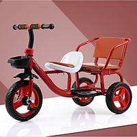 Hàng đẹp Xe đạp xích lô 3 bánh có 2 ghế ngồi lót da cao cấp cho bé