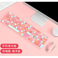 2.4GHz Wireless Keyboard and Mouse Combo Set Round Key Power-Saving Whisper-Quiet Keyboard Mouse Combos