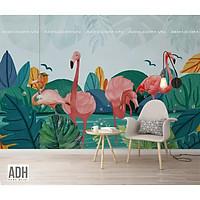 Tranh dán tường hồng hạc, flamingo bên đầm nước ADH190920