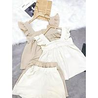 Set đồ nữ mùa hè, bộ đồ nữ áo ba lỗ khuy cúc dọc 2 màu điệu đà