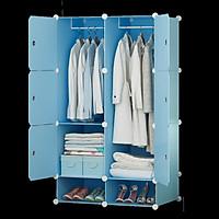 Tủ quần áo nhựa lắp ghép màu xanh dương nhạt sang trọng