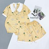 Bộ Ngủ Lụa Satin Đùi Cao Cấp - Babi mama - Bộ Mặc Nhà Pijama BP03