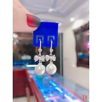 Bông tai thắt nơ bạc treo trai cho nữ giá ở xưởng